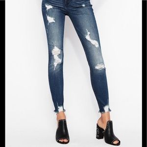 Express Ankle Distressed High Rise Skinny Jeans